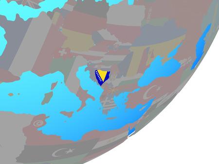 Bosnia and Herzegovina with embedded national flag on blue political globe. 3D illustration. Stock Photo