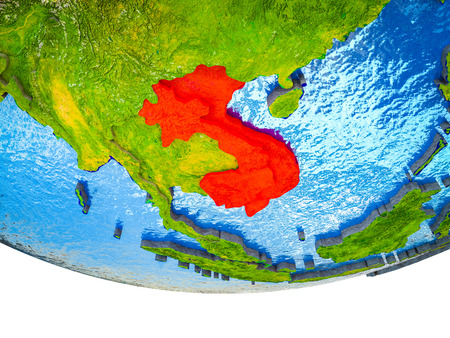 Indochina on 3D Earth with divided countries and watery oceans. 3D illustration.