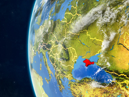 Crimea from space on model of planet Earth with country borders and very detailed planet surface and clouds. 3D illustration.