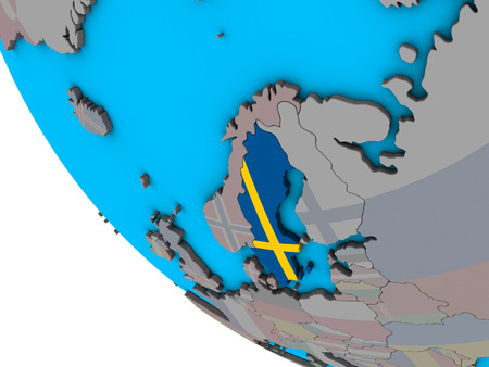 Sweden with embedded national flag on simple 3D globe. 3D illustration.
