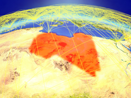 Libya on planet Earth with international network representing communication, travel and connections. 3D illustration.