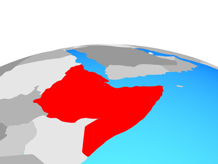 Horn of Africa on political globe. 3D illustration.