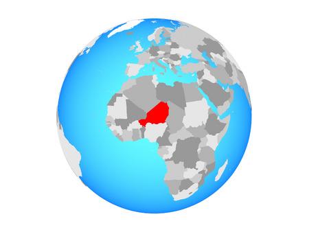 Niger on blue political globe. 3D illustration isolated on white background.