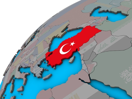 Turkey with national flag on 3D globe. 3D illustration.