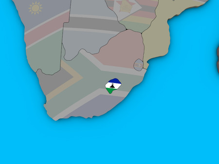 Lesotho with embedded national flag on blue political 3D globe. 3D illustration. Stock Photo