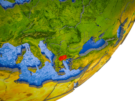 Macedonia on 3D model of Earth with water and divided countries. 3D illustration.