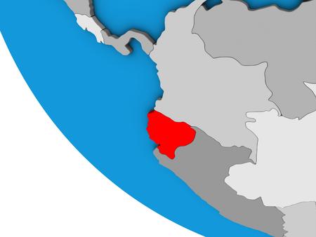 Ecuador on simple 3D globe. 3D illustration.