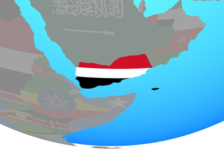 Yemen with national flag on simple political globe. 3D illustration.
