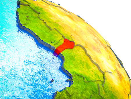 Benin Highlighted on 3D Earth model with water and visible country borders. 3D illustration.