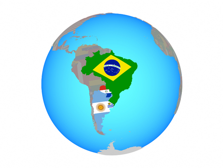 Mercosur memebers with national flags on blue political globe. 3D illustration isolated on white background.