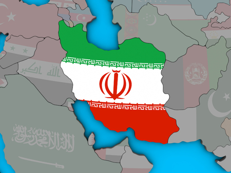 Iran with embedded national flag on blue political 3D globe. 3D illustration. 版權商用圖片