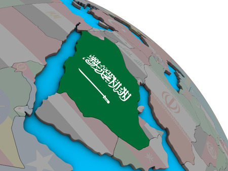 Saudi Arabia with embedded national flag on simple blue political 3D globe. 3D illustration.