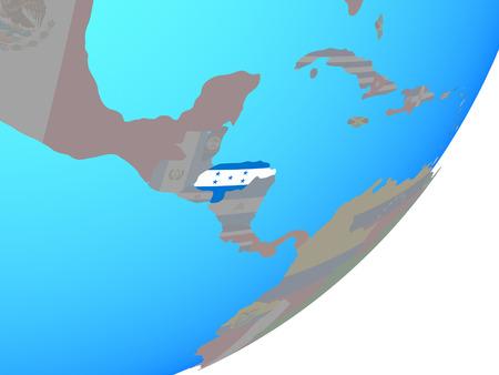 Honduras with embedded national flag on blue political globe. 3D illustration.