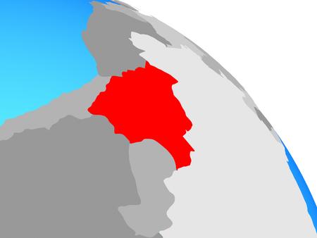 Bolivia on simple blue political globe. 3D illustration.