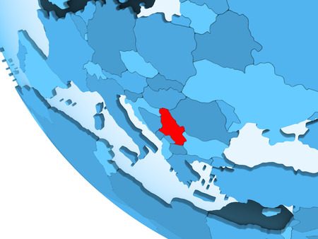 Serbia highlighted in red on blue political globe with transparent oceans. 3D illustration. Imagens