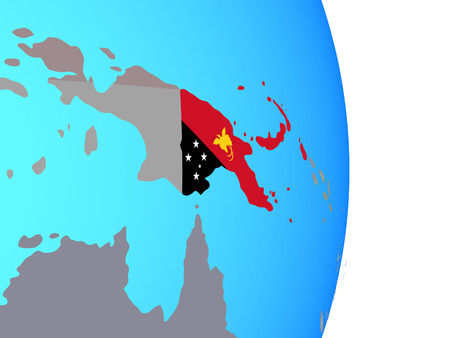 Papua New Guinea with national flag on simple political globe. 3D illustration.