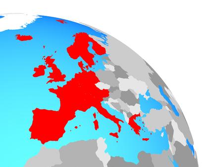 Western Europe on simple blue political globe. 3D illustration.