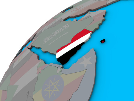 Yemen with national flag on 3D globe. 3D illustration.