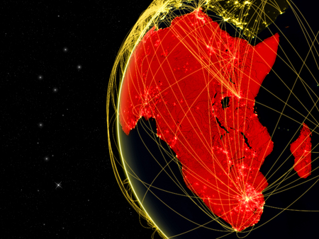Africa on dark Earth with network representing telecommunications, internet or intercontinental air traffic. 3D illustration.