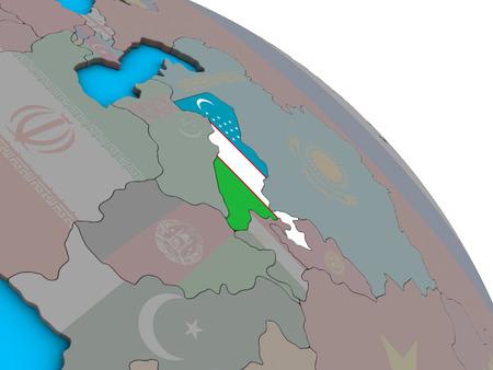Uzbekistan with embedded national flag on simple blue political 3D globe. 3D illustration.