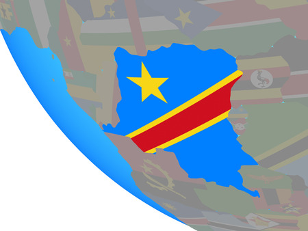 Dem Rep of Congo with national flag on simple globe. 3D illustration.