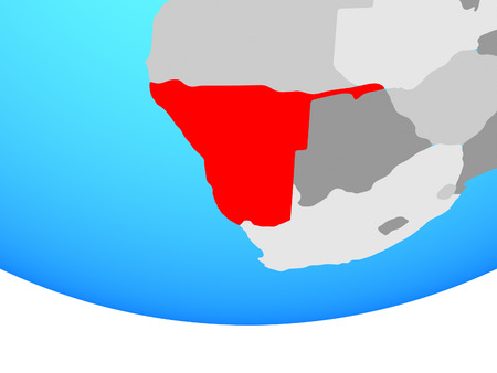 Namibia on simple political globe. 3D illustration.