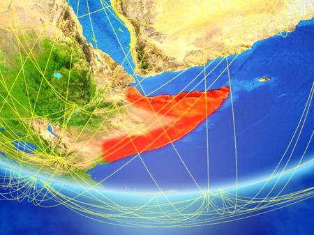 Somalia on model of planet Earth with network representing travel and communication. 3D illustration.