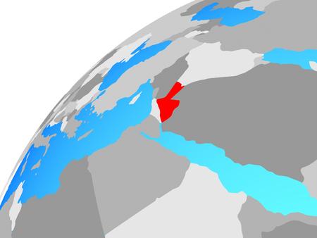 Jordan on globe. 3D illustration.