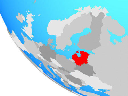 Baltic States on simple globe. 3D illustration. Stok Fotoğraf