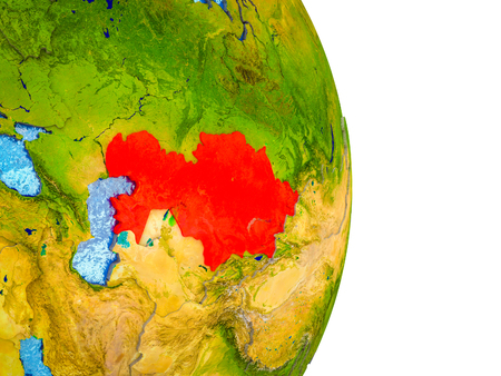 Kazakhstan on 3D model of Earth with divided countries and blue oceans. 3D illustration.