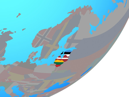 Baltic States with embedded national flags on blue political globe. 3D illustration.