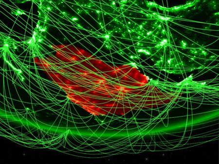 Saudi Arabia on green model of planet Earth with network representing green age, travel and communication. 3D illustration.