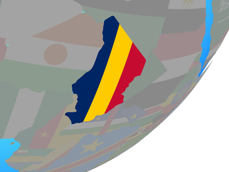 Chad with embedded national flag on blue political globe. 3D illustration. Фото со стока