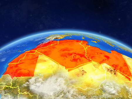 Maghreb region on planet Earth with country borders and highly detailed planet surface and clouds. 3D illustration. Stock Photo