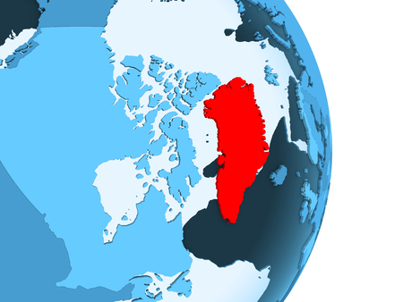 Greenland in red on simple blue political globe with visible country borders and transparent oceans. 3D illustration.