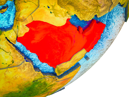 Arabia on 3D model of Earth with water and divided countries. 3D illustration.