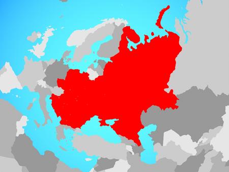 Eastern Europe on blue political globe. 3D illustration.