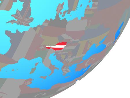 Austria with embedded national flag on blue political globe. 3D illustration. Standard-Bild - 111771525