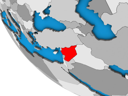 Syria on simple 3D globe. 3D illustration.