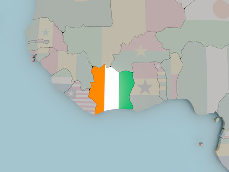 Ivory Coast with national flag on political globe. 3D illustration.