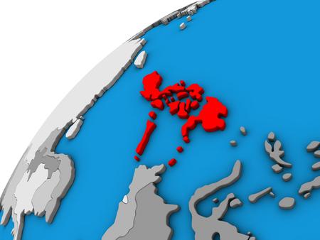 Philippines on 3D globe. 3D illustration.