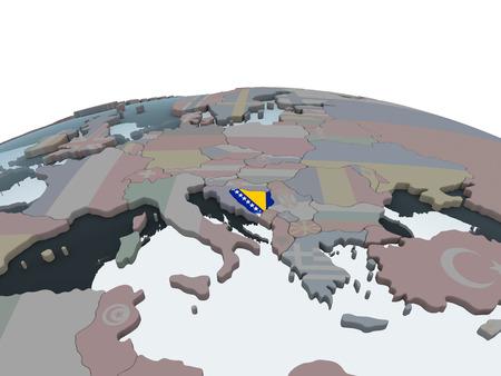 Bosnia and Herzegovina on political globe with embedded flag. 3D illustration.