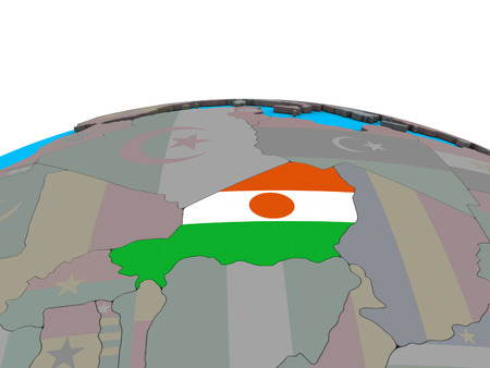Niger with embedded national flag on political 3D globe. 3D illustration. Stock Photo