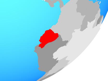 Ecuador on blue political globe. 3D illustration.