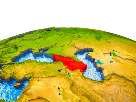 Caucasus region on 3D Earth with visible countries and blue oceans with waves. 3D illustration.