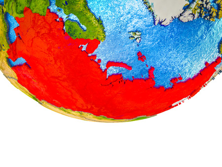 Former Soviet Union on 3D Earth with divided countries and watery oceans. 3D illustration.
