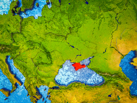 Crimea on model of 3D Earth with blue oceans and divided countries. 3D illustration.