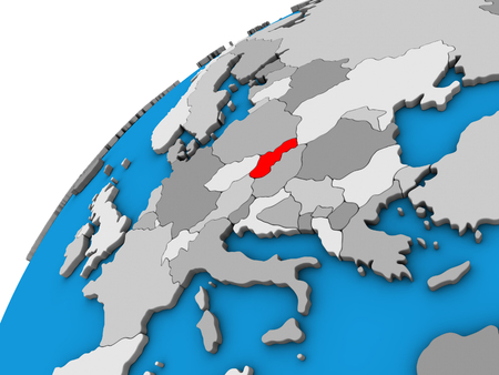Slovakia on 3D globe. 3D illustration. Фото со стока