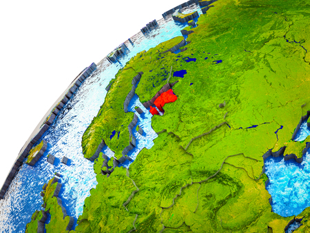 Estonia on 3D Earth model with visible country borders. 3D illustration.