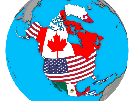 North America with embedded national flags on blue political 3D globe. 3D illustration.
